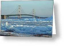 Mackinac Bridge In Ice 2161801 Greeting Card by Rick Veldman