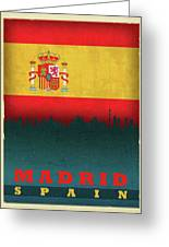 Madrid Spain City Skyline Flag Greeting Card