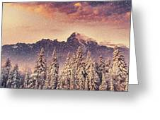 Magical Winter Landscape, Background Greeting Card