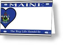 Maine State License Plate Greeting Card