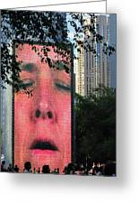 Man Face Crown Fountain Chicago Greeting Card
