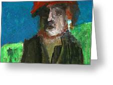 Man In A Red Hat Greeting Card