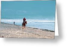 Man Riding On A Brown Galloping Horse On Ayia Erini Beach In Cyp Greeting Card