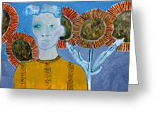 Man With Sunflowers Greeting Card