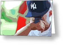 Man With Yankees Cap Greeting Card