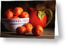 Mandarin Oranges And Orange Shaped Pitcher Greeting Card