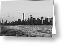 Manhatta, New Jersey And The Statue Of Liberty Greeting Card