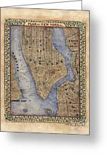 Manhattan New York Antique Map Brooklyn Hand Painted Greeting Card