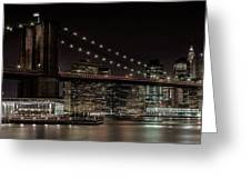Manhattan Skyline And Brooklyn Bridge Idyllic Nightscape - Panoramic Greeting Card