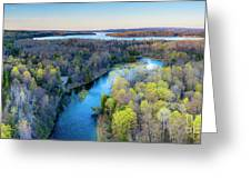 Manistee River And Hodenpyle Dam Aerial Greeting Card
