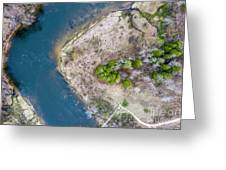 Manistee River Bend Aerial Greeting Card