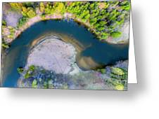 Manistee River Curve Aerial Greeting Card