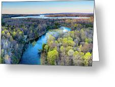 Manistee River Evening Aerial Greeting Card
