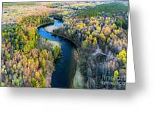 Manistee River From Above In Spring Greeting Card