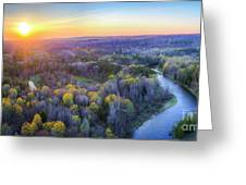 Manistee River Sunset Aerial Greeting Card