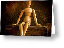 Mannequins On A Wooden Box Greeting Card