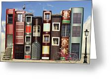 Many Books With Windows Doors Lamps In Greeting Card