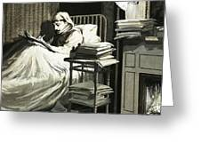 Marcel Proust Sat In Bed Writing Remembrance Of Things Past Greeting Card