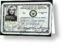 Marilyn Monroe Dept Of Defense Identification Card 1954 Greeting Card