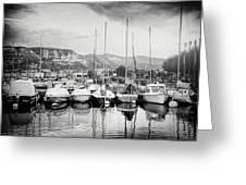 Marina Geneva Switzerland Black And White Greeting Card