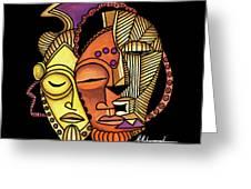 Maruvian Masks 2 Black Greeting Card