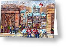 Mcgill University Roddick Gates Original Painting For Sale Hoockey Art C Spandau Canadian City Scene Greeting Card