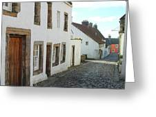 medieval cobbled street in Culross, fife Greeting Card