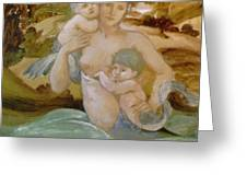 Mermaid With Her Offspring Greeting Card