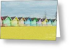 Mersea Island Beach Hut Oil Painting Look 1 Greeting Card