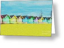 Mersea Island Beach Hut Oil Painting Look 2 Greeting Card