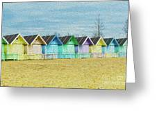 Mersea Island Beach Hut Oil Painting Look 3 Greeting Card