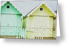 Mersea Island Beach Hut Oil Painting Look 5 Greeting Card