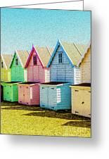 Mersea Island Beach Hut Oil Painting Look 7 Greeting Card