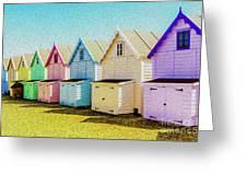 Mersea Island Beach Hut Oil Painting Look 9 Greeting Card