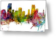 Miami Florida Skyline Panoramic Greeting Card