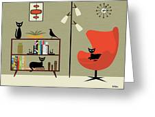 Mid Century Bookcase Room Greeting Card by Donna Mibus