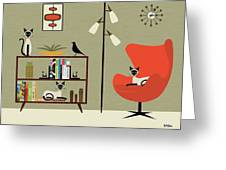 Mid Century Bookcase Room With Siamese Greeting Card by Donna Mibus