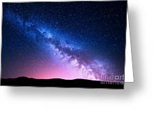 Milky Way And Pink Light At Mountains Greeting Card