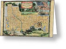 Minneapolis St. Paul Map Vintage Custom Map Art Hand Painted Greeting Card