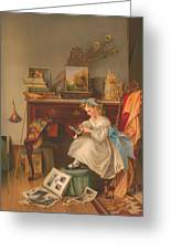 Miss Oakley Making The Scrapbook 1866 Greeting Card