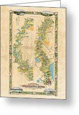 Mississippi River Historic Map Lousiana New Orleans Baton Rouge Map Farming Plantation Hand Painted  Greeting Card