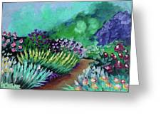 Misty Garden Path Greeting Card by Jacqueline Athmann