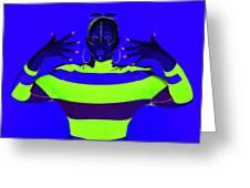 Modern Neon Portrait Greeting Card by Dennis Dame