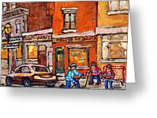 Molly And Bill's Duluth Near Coloniale And St Dominique C Spandau Plateau Mont Royal Hockey Artist  Greeting Card