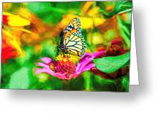 Monarch Butterfly Impasto Colorful Greeting Card by Don Northup
