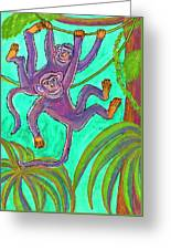 Monkeys On Creepers Greeting Card