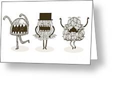 Monster Illustrationvector Greeting Card
