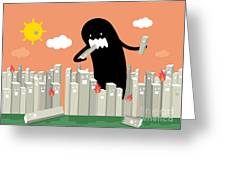 Monster In The City Vectorillustration Greeting Card