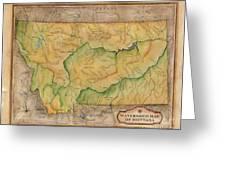 Montana Custom Map Art Rivers Map Hand Painted Greeting Card
