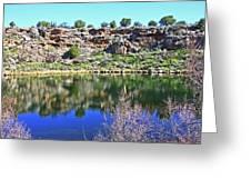 Montezuma's Well Az Water Blue Sky Reflections Stone Wall 3192019 5253. Greeting Card